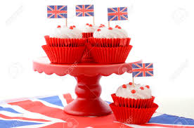 Dessert Flags Red White And Blue Theme Cupcakes On Red Cake Stand With Uk Union