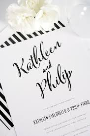 modern calligraphy wedding invitations in black and white