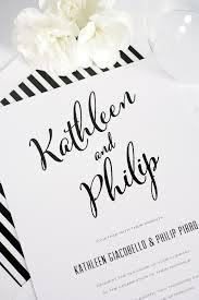 black and white striped wedding invitations modern calligraphy wedding invitations in black and white