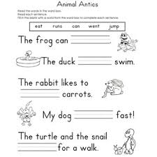reading worksheets for kindergarten free worksheets library