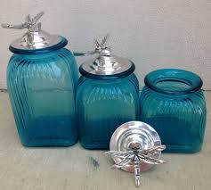 ocean blue turquoise canister set with dragon fly ring lids