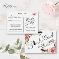 Wedding Invitation Reply Card Floral Motive Reply Card Rustic Flowers Wedding Rsvp Postcard