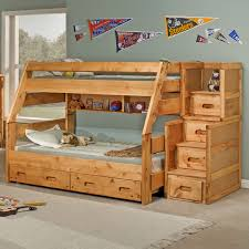 Wooden Bunk Bed With Stairs Brown Wooden Bunk Bed With Four Drawers On The Stairs
