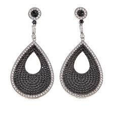 pear drop earrings absolute 5 30ctw cz black and white pear drop earrings 8637543