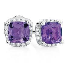 amethyst stud earrings stud earrings with amethyst diamonds in 10kt white gold