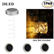 warm white solar fairy lights mason jar lights solar lids surlight 3 pack 20 led warm white