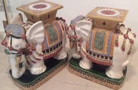elephant end tables ceramic elephant garden stands stools vintage pair side end tables vietnam