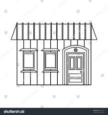 one storey house two windows icon stock illustration 487432144