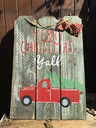 red truck merry christmas y u0027all wooden sign craft holidays and