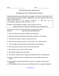 Time Management Worksheet Parallel Structure Worksheets Finding Parallel Structure Worksheets