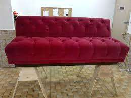 dark red velvet tufted sofa with diy wooden base ideas