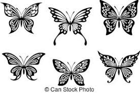 the figure shows the two black and white butterfly tattoos vector