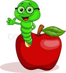 apple cartoon vector illustration of worm and apple cartoon stock vector colourbox