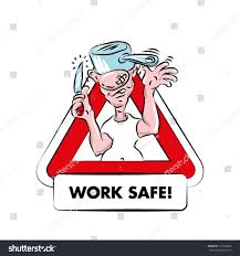 cartoon warning sign kitchen safety funny stock vector 175358282