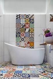 25 creative patchwork tile ideas full of color and pattern view in gallery contemporary mediterranean bathroom for those who love patchwork tiles design cassidy hughes interior design
