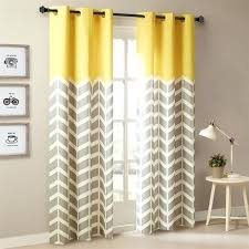 Yellow Patterned Curtains Yellow Patterned Curtains Chevron Printed Grommet Top Panel Pair