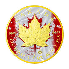 Canada Flag Colors 2015 1oz 5 Cad 50th Anniversary Canadian Flag Silver Maple Leaf