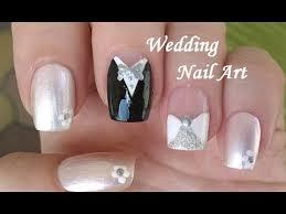 wedding nail art design diy white black silver u0027bride u0027 u0026 u0027groom