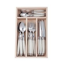 laguiole kitchen knives laguiole by andre verdier debutant cutlery set mirror 24pc white