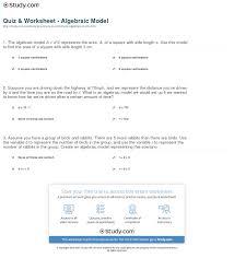 quiz u0026 worksheet algebraic model study com