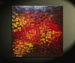 Textured Painted Walls - big abstract textured painting red red brown orange fall