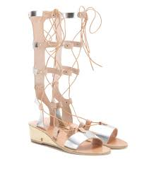 thebes wedge metallic leather gladiator sandals ancient greek
