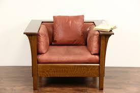 Vintage Leather Club Chair Sold Stickley Signed Craftsman Oak Vintage Chair Original