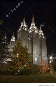 picture of salt lake temple south and east side with christmas tree