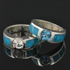 Turquoise Wedding Rings by Birdseye Turquoise Wedding Ring And Engagement Ring Set