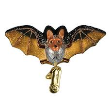 world clip on bat glass blown ornament