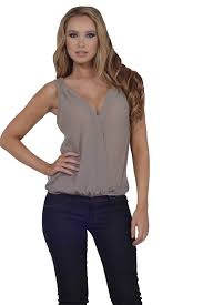 elastic waist blouse womens casual sheer sleeveless crossover neck elastic waist tops