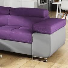 canapé convertible violet canapé angle convertible violet en tissu sofamobili