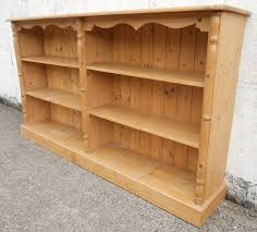 Long Low Bookcase Wood Long Bookcase Pine Open Shelves Storage Cabinet Sold