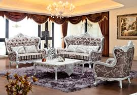 Wooden Living Room Sets Russia Style Flower Pattern Design Fabric Sofa Sets Living Room