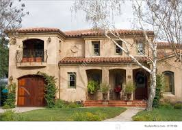 residential architecture front of mediterranean home stock