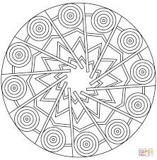 mandala with stars and circles coloring page free printable