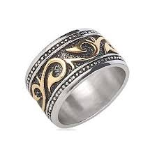 stainless steel rings for men tribal ring stainless steel ring with 14k gold ip