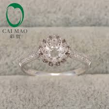 7mm diamond lotus flower design hold 7mm cut gem 14k white gold