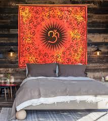 tapestry orange spiritual wall hanging