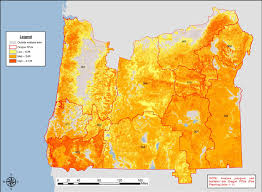 map of oregon fpus showing wildland hazard results from the