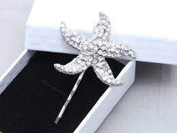 starfish hair clip starfish hair bobby clip flower girl starfish motif hair clip
