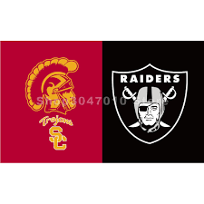 Custom Flags And Banners Usc Trojans Vs Oakland Raiders Flag 100d Polyester Digital Print