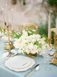 Gold Table Centerpieces by Delicate Dusty Blue And Gold Wedding Ideas Happywedd Com