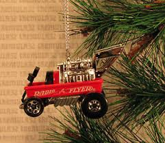 radio flyer wagon dragster silver rod ornament