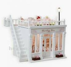 Sweet Coffee Shop France Style Diy Doll House 3d Miniature Doce Café França Estilo Diy Boneca Casa 3d Kits De Luz Em