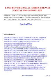 land rover manual series i repair manual 1948 1958 by huang luan