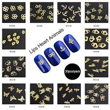 30pcs pack gold metal nail tips stickers decorations 3d nails