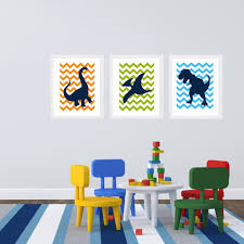 dinosaur wall art dinosaurs wall decals set of 9 with custom name buy dinosaur cartoon canvas painting nursery wall art big silhouette chevron dino theme picture kids boy bedroom home decor no frame from