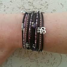leather cuff wrap bracelet images Boho simple leather wrap bracelet purple silver multi strand jpg