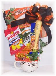 baseball gift basket baseball theme gift basket for baseball fan baltimore orioles pennant